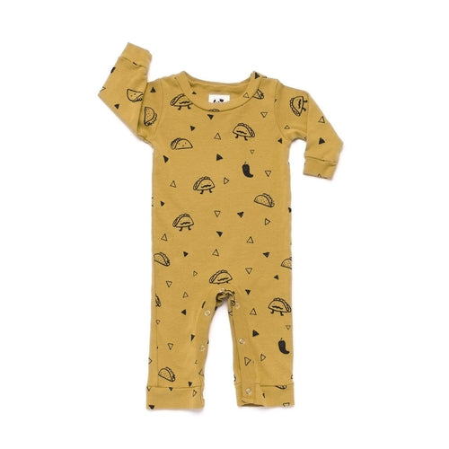 Taco Print Romper Long Sleeve Golden Yellow