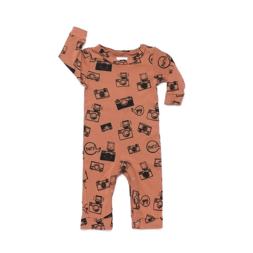 Camera Print Romper Long Sleeve Burnt Sienna
