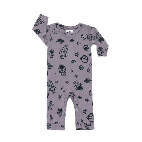 Space Print Sweatshirt Romper / Zipper Slate Grey