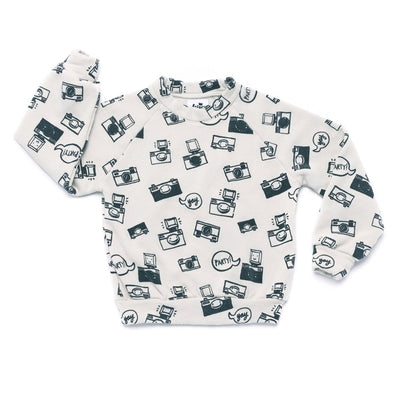 Camera Print Raglan Sweatshirt