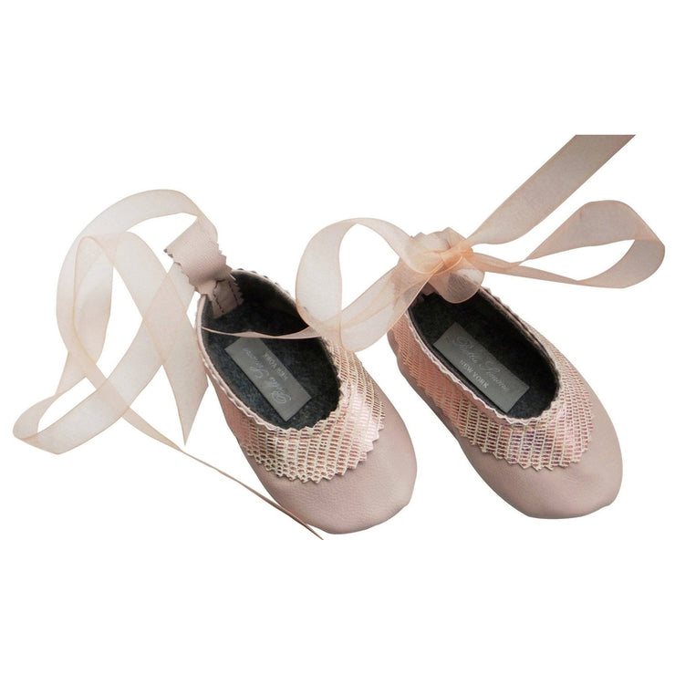 Pink Embossed Lily Ballet Flats