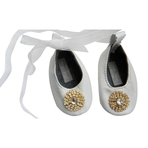 white lily ballet flats