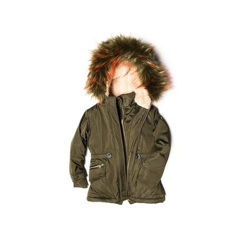 olive middie puffer coat