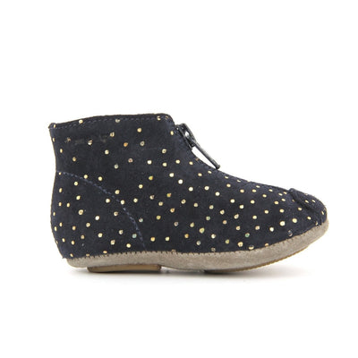 Gold Polka Dot Navy Boots