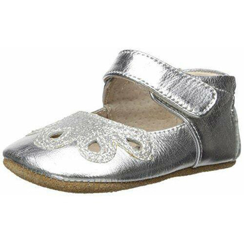 silver metallic petal shoe