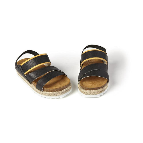 suntrek black leather sandal