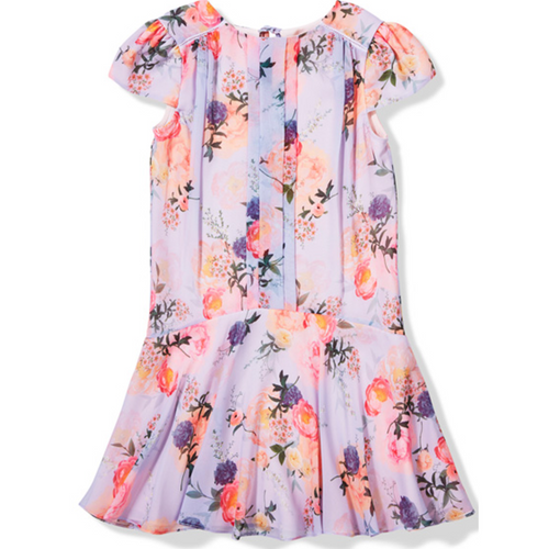 botanical drop hem dress