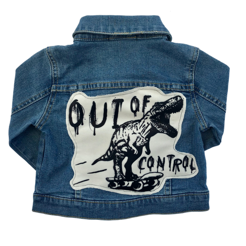 out of control patch denim jacket