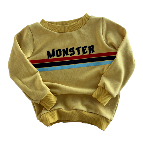 mustard monster stripe sweatshirt