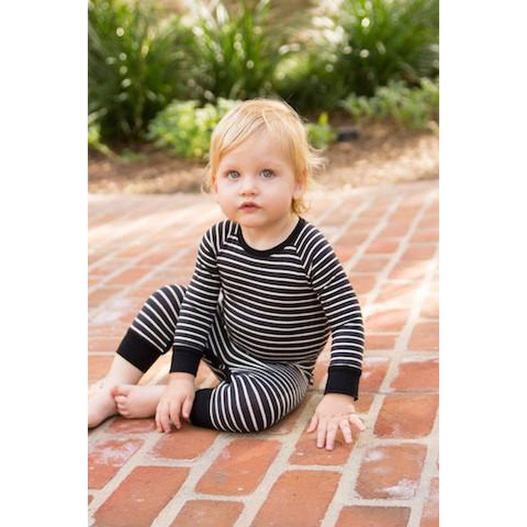 Black/White Striped Footie