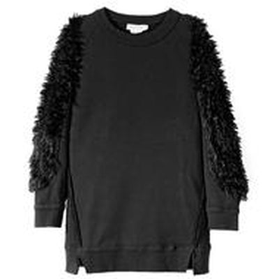 Black Fur Sleeve Sweat Dress