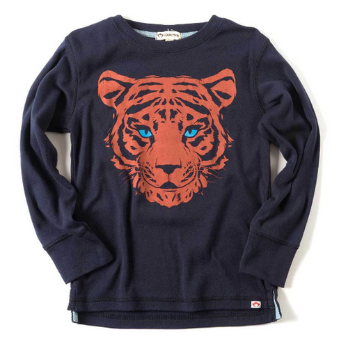 Long Sleeve Peacoat Graphic Tiger Tee