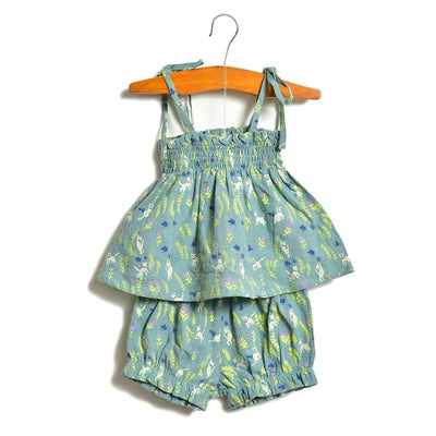 Aqua Kitten Layette Gathered Top and Bloomer