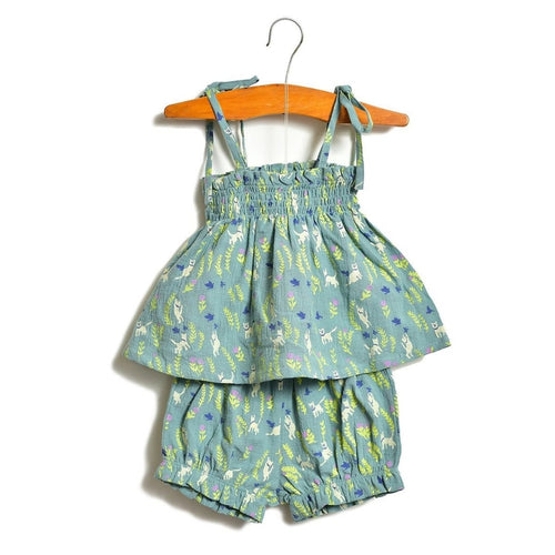 aqua kitten layette gathered top and bloomer set