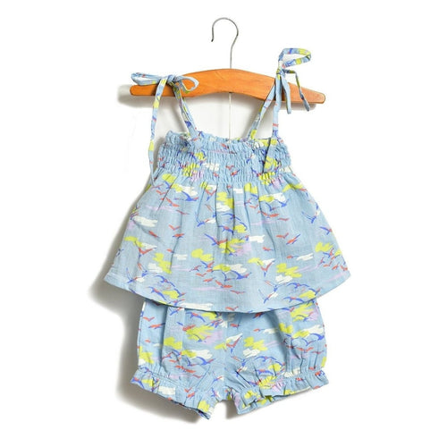 blue sky layette gathered top and bloomer set