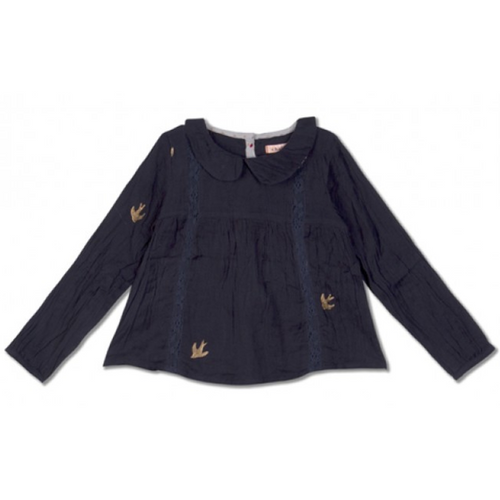 Navy Blue With Bird Print Chini Shirt