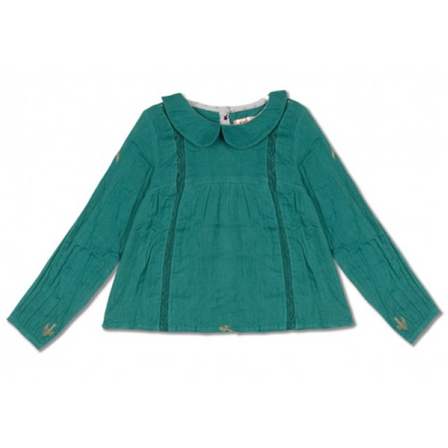 Pine Green With Bird Print Chini Shirt