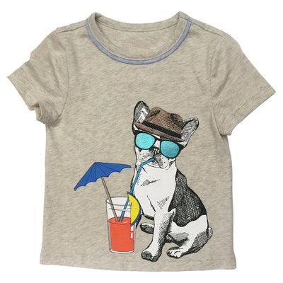 Grey Graphic Dog Drink T Shirt