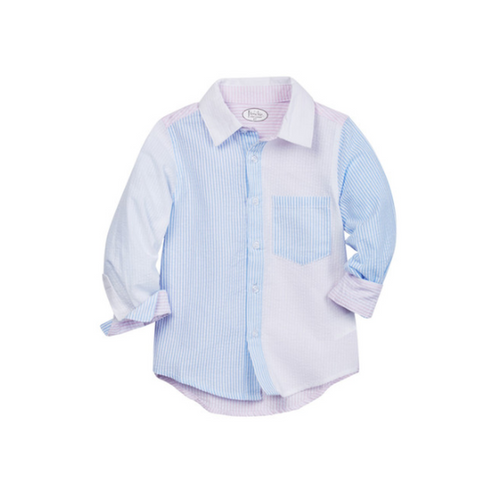 Long Sleeve Colorblock Seersucker Button Down Shirt