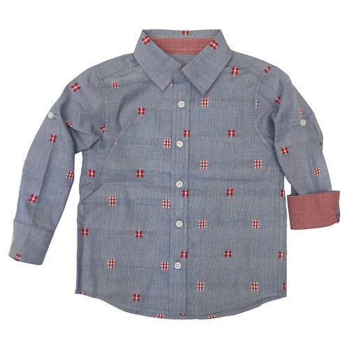 RED PATCH BLUE WOVEN SHIRT