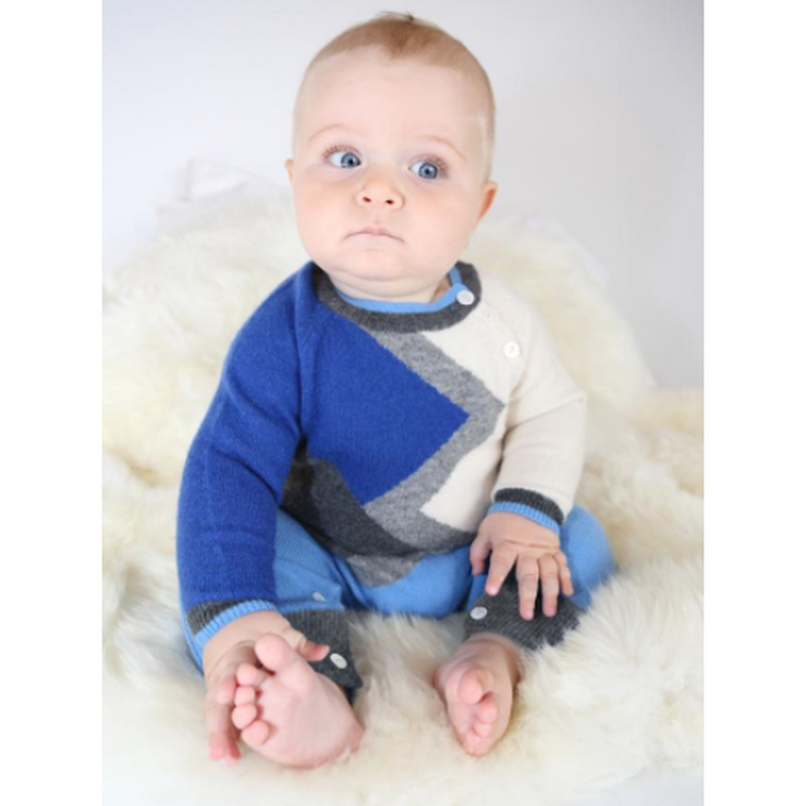 Jasper Blue Combo Cashmere Color Block Coverall