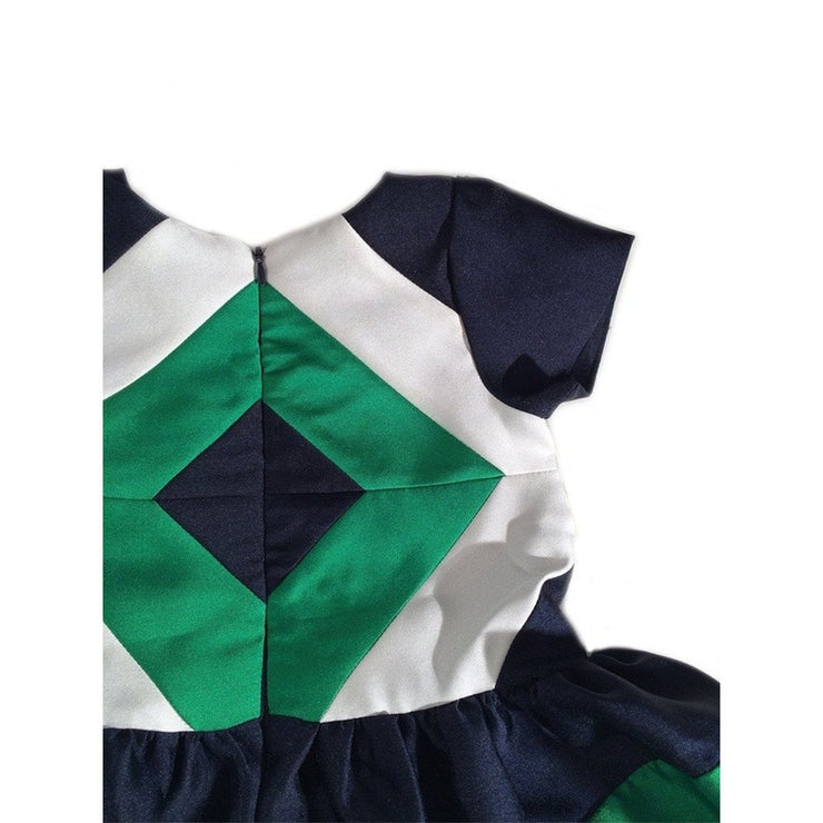 Navy and Green Diamond Dress
