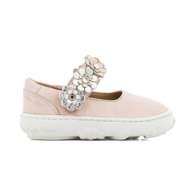 Cookie Flowers Leather Shoe with White Rubber Sole