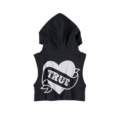 black true love sleeveless hoodie