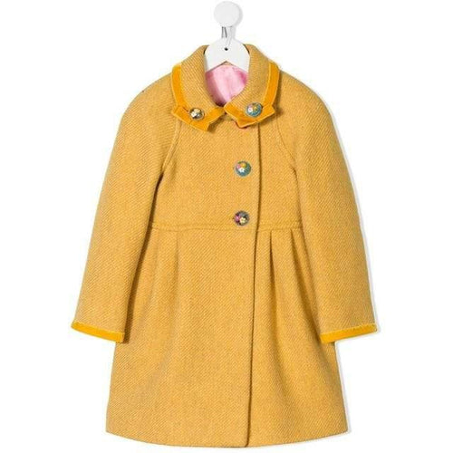 yellow herringbone wool blend coat