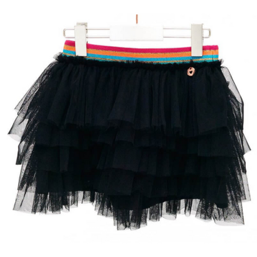 Black Skirt With Multicolored Waistband