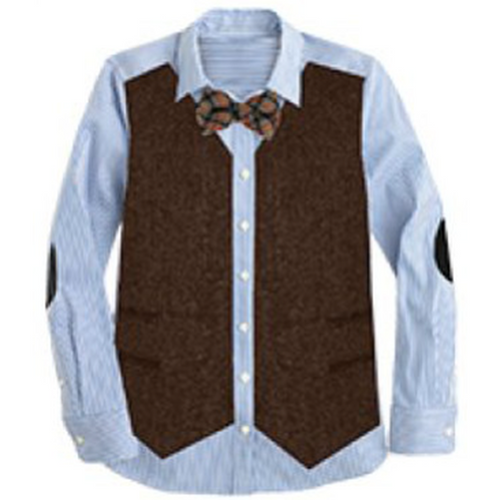 Tweed Vest Bowtie Button Down Shirt