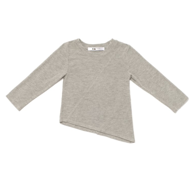 Heather Grey Asymmetrical Knit Long Sleeve Top