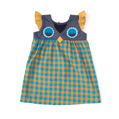 Fanciful Fall Owlet Gingham Smock