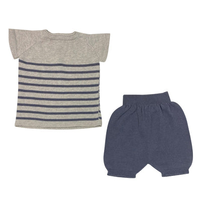 Grey & Navy 2pc Short Knitted Set