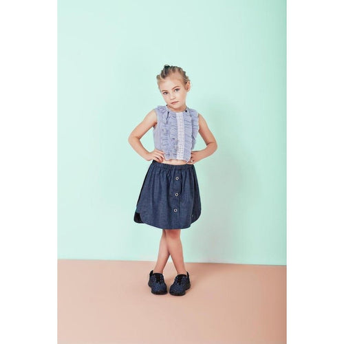 light blue striped sleeveless ruffled lace top