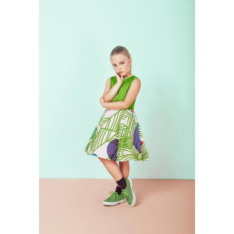 Green Geometric Spring Patterned Dress