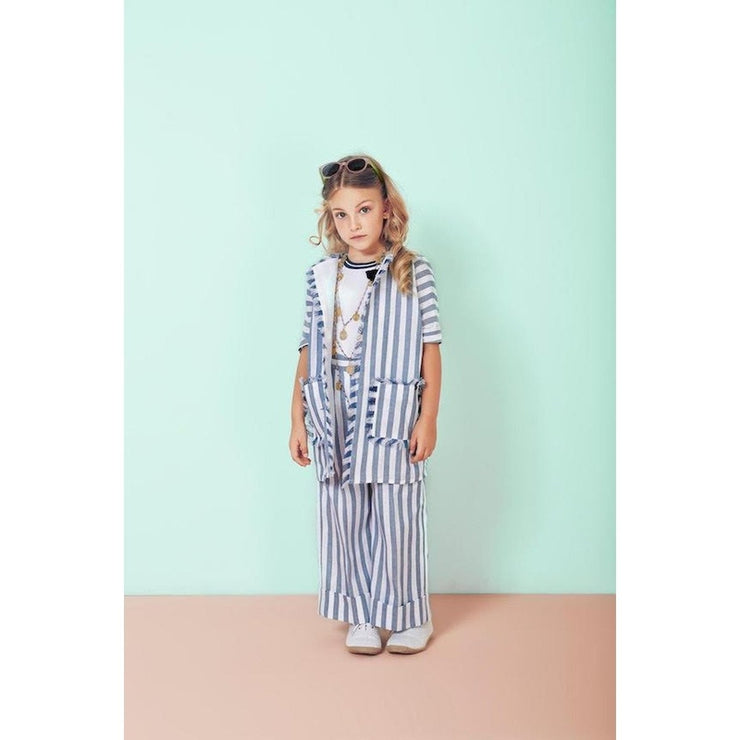 Fringed Blue And White Striped Coat