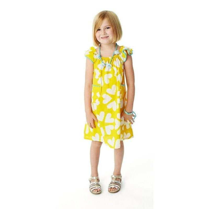 flutter yellow heart flower dress