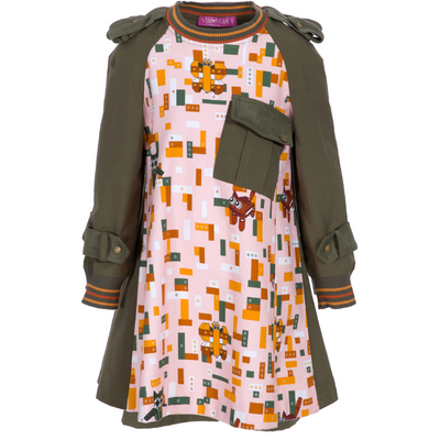 Olive Green And Pink Legos Dress