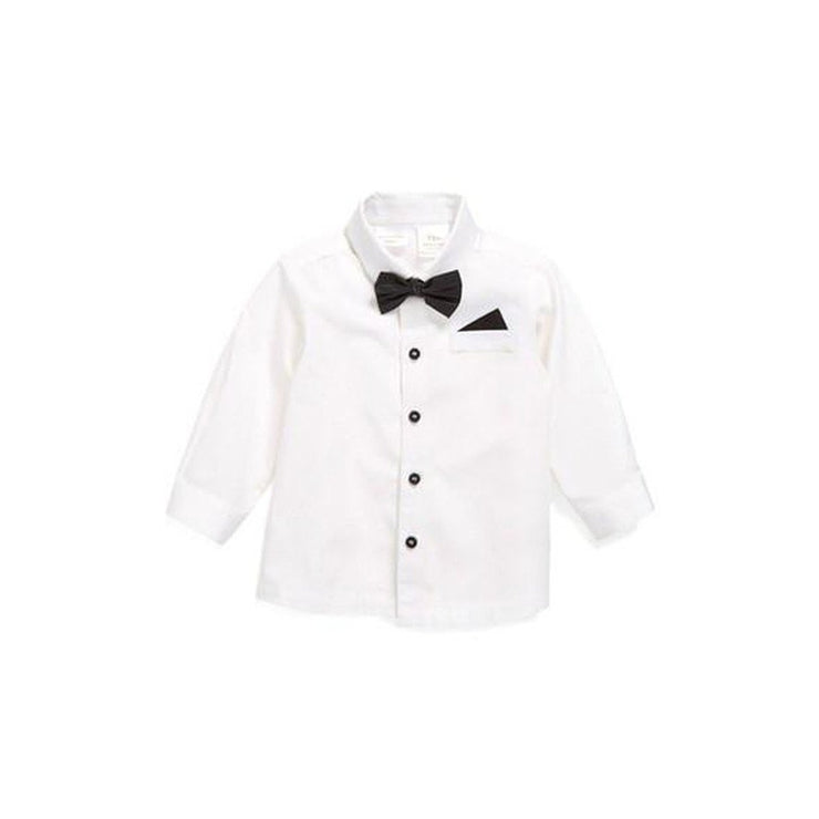 White Cotton Shirt With Removable Vegan Leather Bowtie