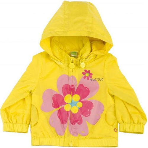 yellow floral jacket with hood