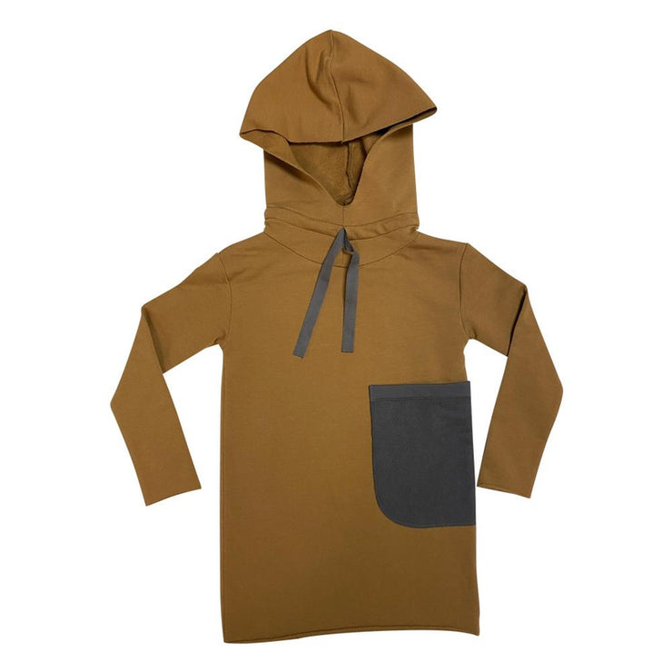 Brown Hooded Dress with Grey Pocket