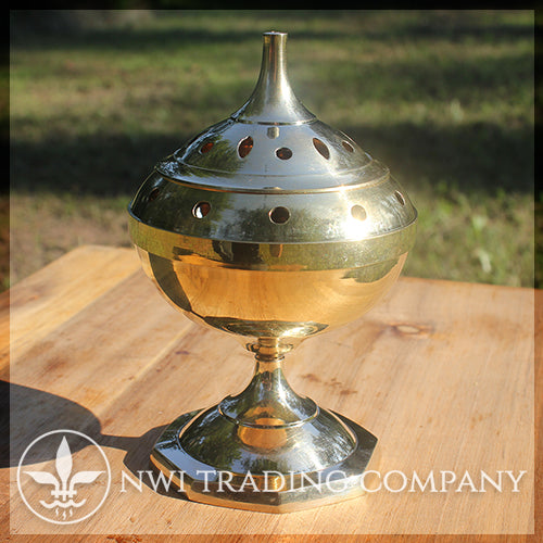 Large Polished Brass Censer Burner