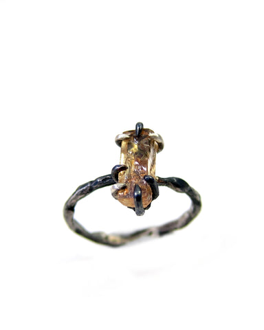 Callirrhoe Jewellery rustic set imperial topaz ring