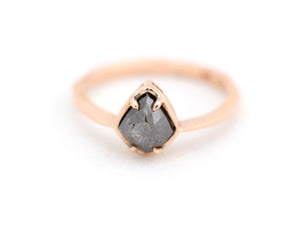 Salt and Pepper Rose Gold Engagement Ring