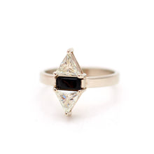 Moissanite and Onyx Ring