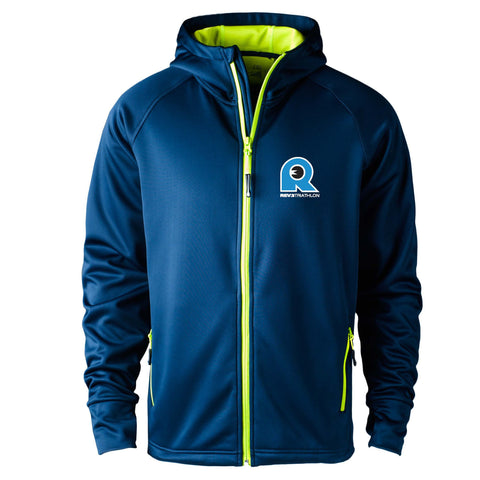 REV3 Mens Hooded Performance Fleece Full Zip Sweatshirt