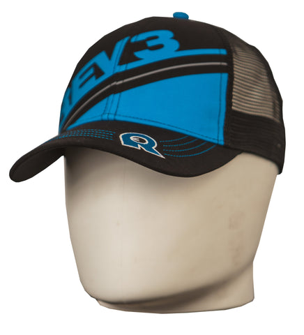 Rev3 Blue on Black Technical Trucker Hat