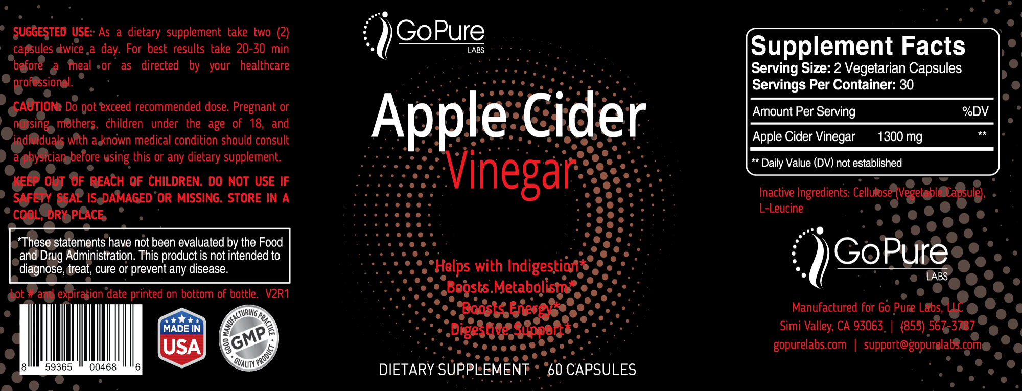 Go Pure Apple Cider Vinegar Label