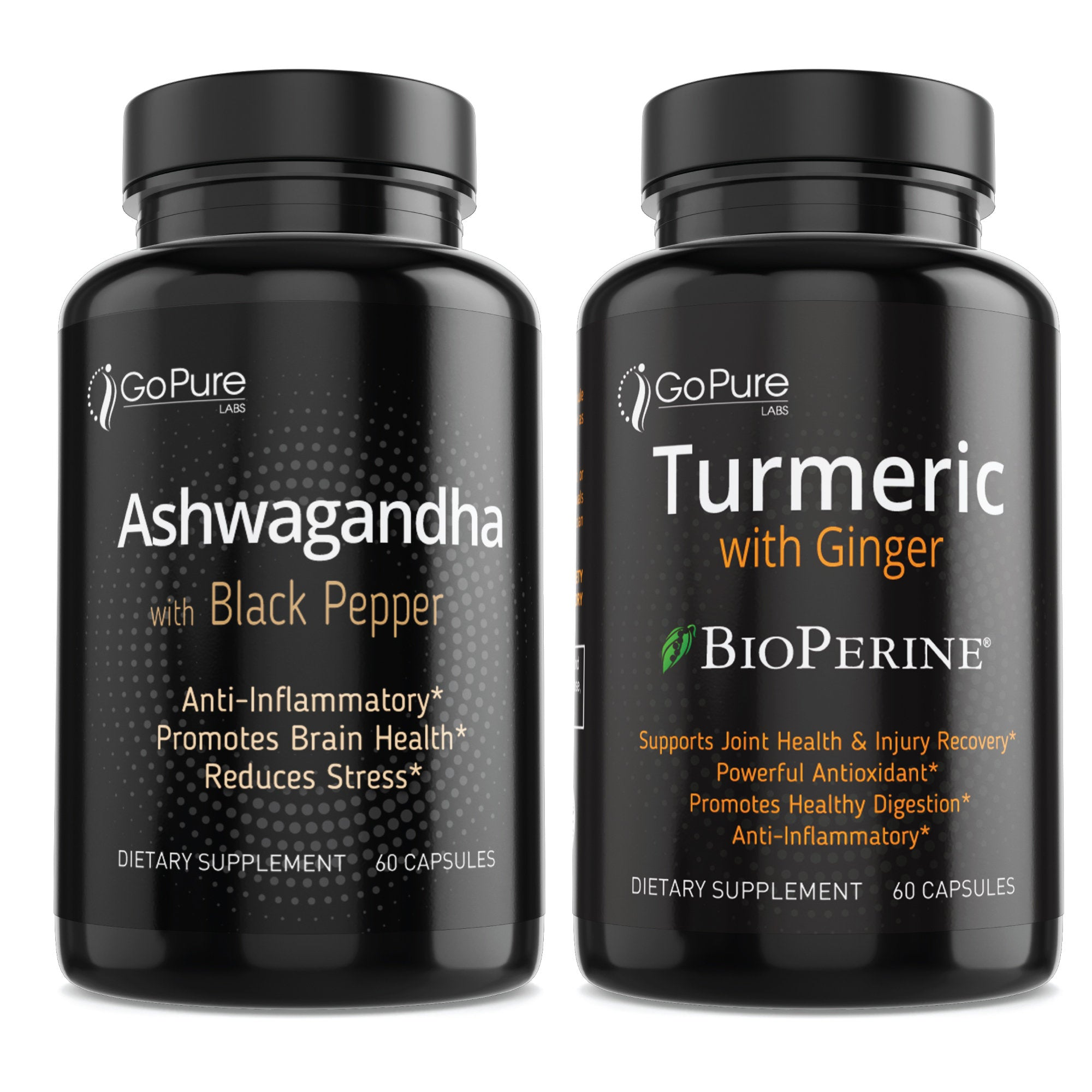 Organic Ashwagandha and Go Pure Turmeric With Ginger *BioPerine